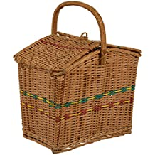 Devan Handicrafts Bamboo Brown Picnic Basket (30.48 cm x 20.32 cm x 35.56 cm, Brown)