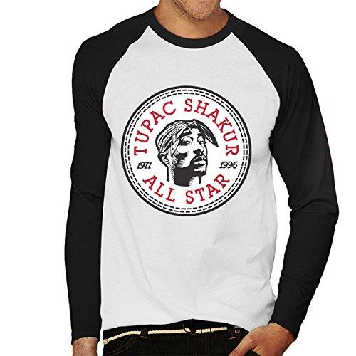 Tupac Shakur Converse All Star Icon Men's Baseball Long Sleeved T-Shirt  White/Black