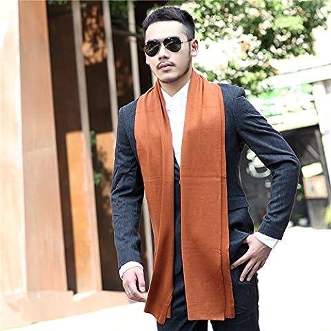 In autunno e in inverno gli uomini alla moda in stile inglese con colori solidi sciarpe semplici uomini di spessore Sciarpa lavorata a maglia in cotone Lana W-299