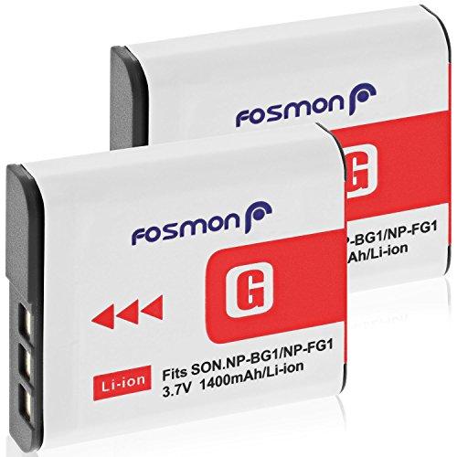 Fosmon Ersatzakku für Sony NP-FG1/NP-BG1 (3,7 V / 1400 mAh) hohe Kapazität, Ersatz, wiederaufladbar, Li-on Typ G, Akku für Sony-Kameras (2 Stück) -