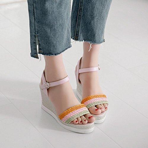 Mee Shoes Damen Keilabsatz Schnalle Slingback Sandalen Pink