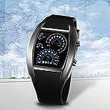 Sport RPM Blue & White Flash LED Auto Geschwindigkeitsmesser Zifferblatt Männer Geschenk Uhr exquisit gestaltet langlebig - schwarz