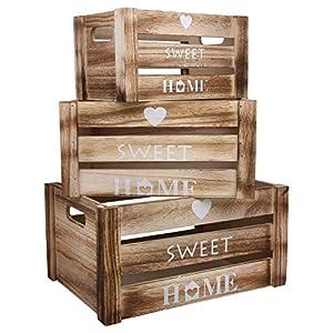 Holz Aufbewahrungsbox - 3-er Set Holzkisten, Obstkisten Aufbewahrungskiste mit Griffen und Herz Sweet Home Design - Vintage Kisten, Weinkiste, Holzbox für Haushaltsartikel, Wohnaccessoire, Deko Truhe