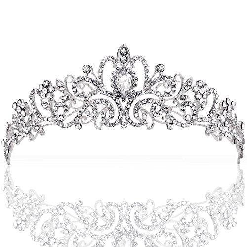 ZWOOS Tiara Stirnband Braut Brautjungfern Kristall Diadem Strass Krone Tiara Stirnband für Hochzeitsfest