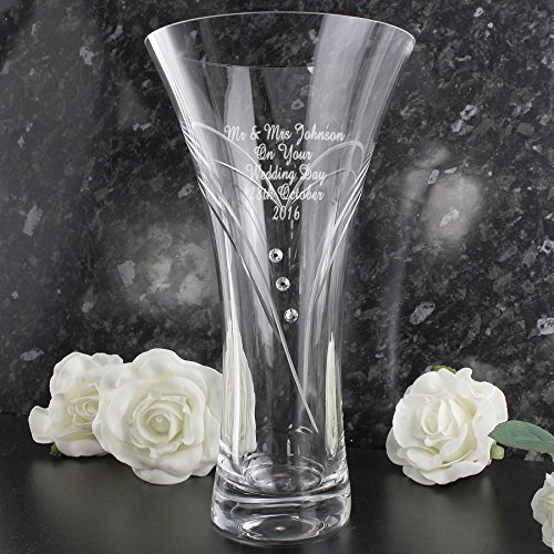 Beautiful Personalised Engraved Swarovski 'Cut Heart Swirl Design' Glass Vase - Makes A Beautiful Mothers Day Gift
