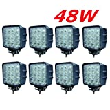 Miracle 8x LED 48W Faro de trabajo para trabajo lámpara 38006000K 67ip de marcha atrás-Tractor-Excavadora