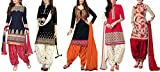 Maxthon Fashion Women's Printed Unstitched Regular Wear Salwar Suit Dress Material (Combo pack of 5)(Max_Combo_7087)(Max_3001_Blue)(Max_3029_Black)(Max_3002_Red)(Max_3008_Black)(Max_3032_Red)