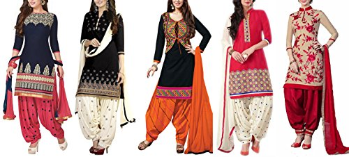 Market Magic World Women\'s Printed Unstitched Regular Wear Salwar Suit Dress Material (Combo pack of 5)(MMW_Combo_7087)(MMW_3001_Blue)(MMW_3029_Black)(MMW_3002_Red)(MMW_3008_Black)(MMW_3032_Red)