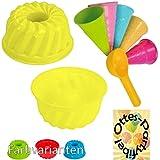 Sandspielzeug 1 Kuchen-Sandform + 5 Eistüten + 1 Portionierer Sandkasten Kindergarten