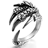 Adisaer Ringe Herren Silber Ring Männer Rock Punk Silber Tier Drache/Adler Klaue Ring Größe 65 (20.7) Retro Bandringring Valentinstag Party Ringe Für Vater