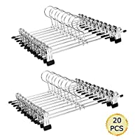"Aizhy Trouser Hanger Strong Chrome Pants Skirt Coat Hangers with Non-Slip Clips 28cm (11""),Pack of 20"