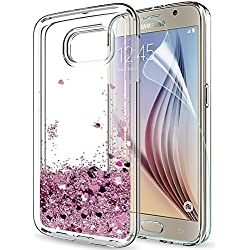 LeYi Coque Galaxy S6 Etui avec Film de Protection écran, Fille Personnalisé Liquide Paillette Transparente 3D Silicone Gel TPU Antichoc Kawaii Housse pour Samsung Galaxy S6 Rose Or