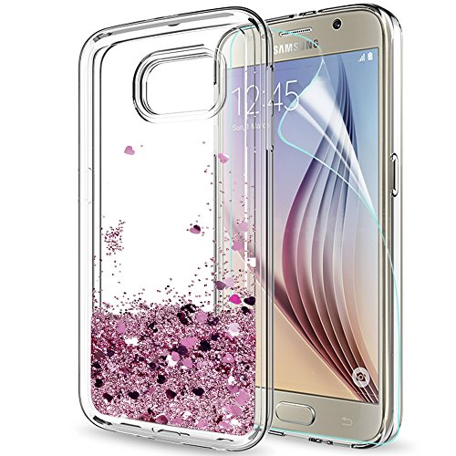 LeYi Compatible with Funda Samsung Galaxy S6 Silicona Purpurina Carcasa con HD...