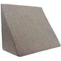 XL Almohada de cuña para sala de estar y dormitorio, cojín de lectura, almohada de relajación, respaldo flexible, cojines de embarazo, almohadas de lactancia // para tumbarse y sentarse (bronceado)