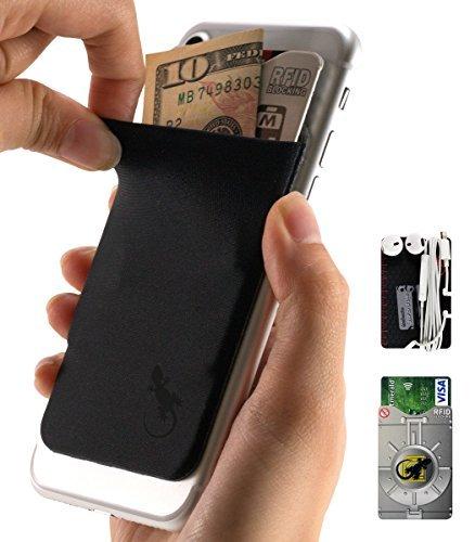 Gecko Klebstoff Phone Portemonnaie & RFID-blockierender Ärmel, einer Kleberkartenhalter dehnbar Lycra Halterung universell passend für die meisten Handys und Fällen. Xtra Hoch Pocket Völlig Bezüge Kreditkarten & Cash (Moshi Handy-fall)