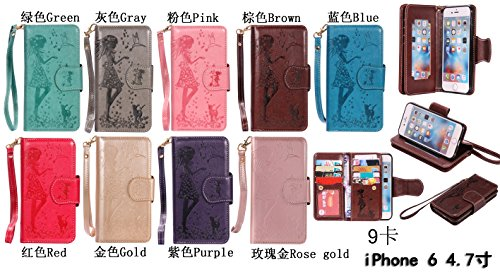 PU Cuir Coque Strass Coque étui Couleur en relief de portefeuille protection Coque Case Cas Cuir Swag Pour Apple iPhone 6 (4.7 pouces)+Bouchons de poussière (3FO) 8