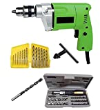 #10: Non Branded Generic 10mm Drill Machine With Bits & 41Pcs Toolkit