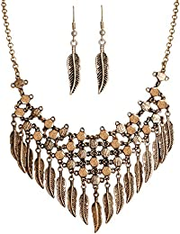 Spargz New Fashion Gold Oxided Plated Statement Leaf Necklace And Hook Earrings Sets AINS 226