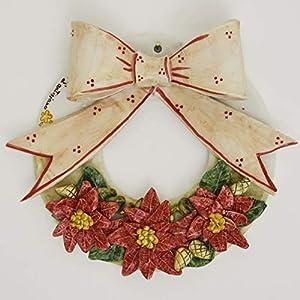 Weihnachten aus der Stadt Keramik Kranz mit Weihnachtssternen und Bogen