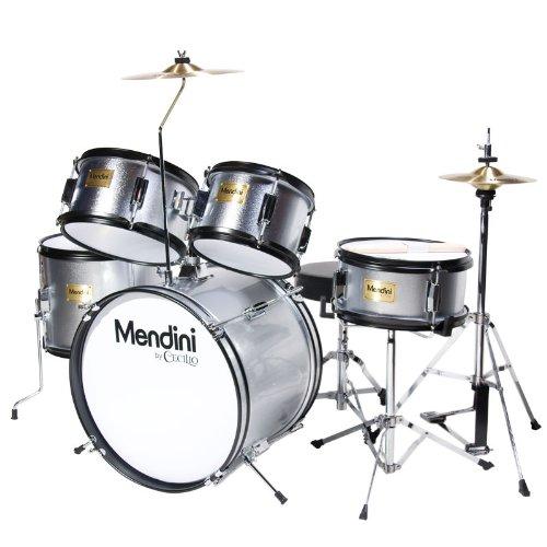 mendini-mjds-5-sr-kinderschlagzeug-komplett-set-406-cm-16-zoll-metallisch-silber