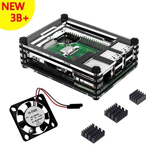 Caja Para Raspberry Pi 3 Modelo B+ Plus Carcasa con Ventilador Disipadores de Calor (Negro claro)