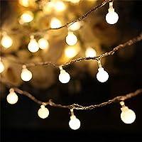 AOOKEY Cuerda Luces - 80 Bombilla 10M Guirnarldas Blancas de Luz Cálida LED Luces del Efecto Estrellado para Decoración Interior, Jardines, Casas, Boda, Fiesta de Navidad
