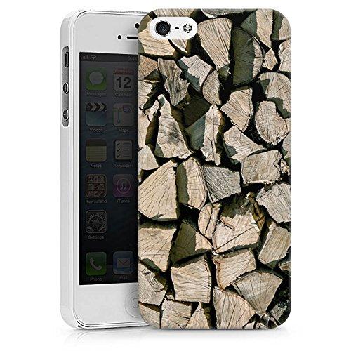Apple iPhone X Silikon Hülle Case Schutzhülle Holz Look Holzscheite Baum Hard Case weiß