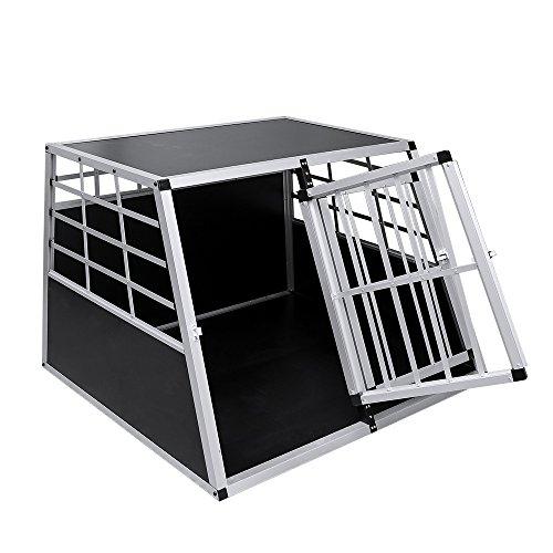 WIS Hengda Trasportino per cani in alluminio dimensioni 65/x 90/x 69.5/cm Argento Nero Auto trasporto Box per il trasporto cani di taglia grande