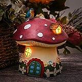 TERESA'S COLLECTIONS 17cm Solar LED Gartenfigur Pilz Feenhaus für außen Garten Dekoration Solarlicht Dekor Kunstharz Gartendeko Figur