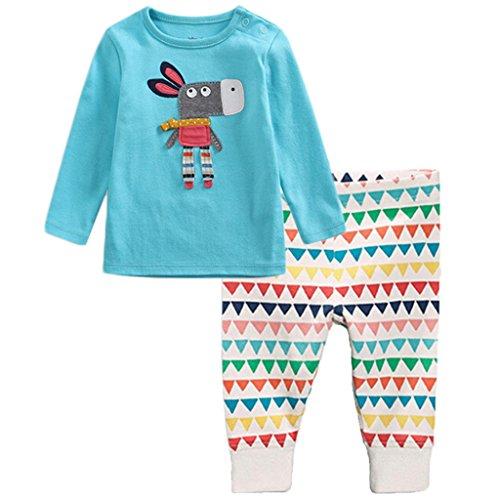 Bambino asino t-shirt a maniche lunghe + pantaloni grafici set, ragazzi ragazze pigiama set 12-18 mesi