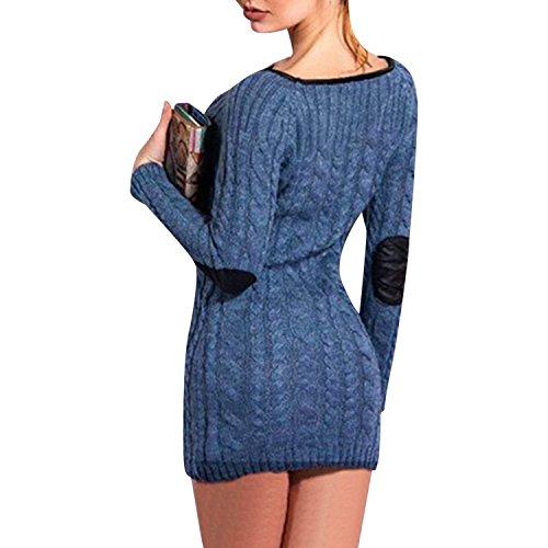 LAEMILIA Robe Mini Femmes Manches Longues Casual Hiver Tricot Chandails Pull à Col Rond Blouse Hauts Bleu