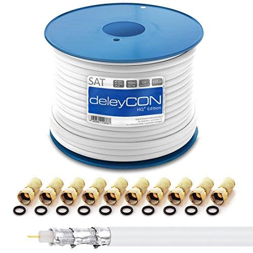 deleyCON HQ+ 50m SAT Koaxial Kabel 135dB - 5-Fach geschirmt für DVB-S - S2 DVB-T und DVB-C - 4K 1080p Full HD HDTV - inkl. 10x vergoldete F-Stecker Koaxial