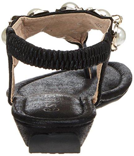SUNAVY Damen Böhmen Bling Sommer Flach Sandalen mit Strass Pearl Peep Toe Flip Flops Zehentrenner,Gold,35(Asien), 34(EU) Schwarz