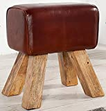 DuNord Design Hocker Sitzhocker BULL Leder Design Sitzmöbel Teakholz Massivholz Fusshocker
