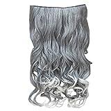 Wellige Peruecke - TOOGOO(R) Neue Art und Weise Haarfarbe Silber Grau +weiss Geschweifte Klammer in Haarverlaengerungen Oma Haare