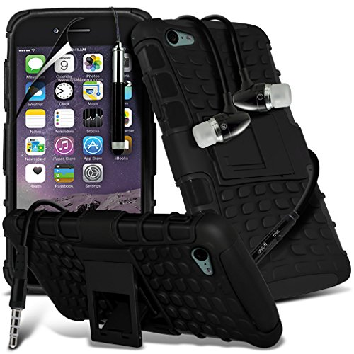Aventus ( Black ) Apple iPhone 6S Case Goutte Custom Made Preuve écran Heavy Duty couvercle en plastique + Film de protection avec Chiffon, écran tactile Stylet & aluminium haute qualité écouteurs Shock Proof + Earphone ( Black )
