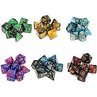 Moncolis 6 x 7 (42 Stück) Polyedrische Würfel Set mit Taschen Doppel-Farben Polyedrischer Spielwürfel für Dungeons and Dragons DND RPG MTG W20 W12 W10 W8 W6 W4 Tischkartenspiele
