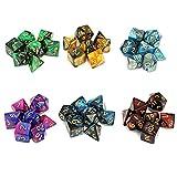 Moncolis 6 x 7 Polyedrische Würfel Set mit Taschen Doppel-Farben Polyedrischer Spielwürfel für Dungeons and Dragons DND RPG MTG W20