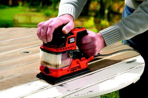 Black + Decker 270W Schwingschleifer, Duosand zweifache Staubabsaugung, transparenter Staubfangbehälter, KA330E