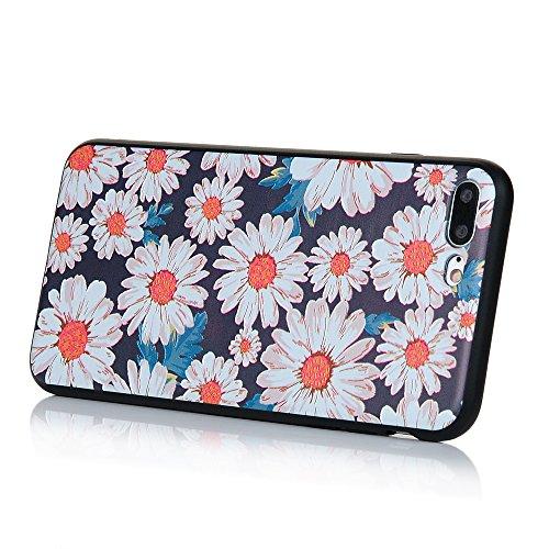 MAXFE.CO TPU Silikon Hülle für iPhone 7 plus Handyhülle Schale Etui Protective Case Cover Rück mit Rosen Skin Silikon Stereo Lithographie Design Daisy