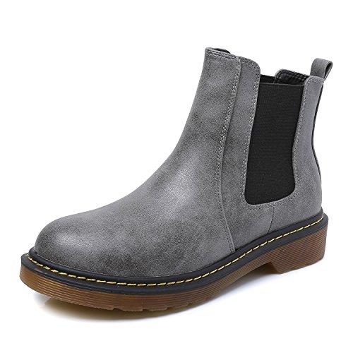 (Smilun Mädchen Halbschaft Stiefel Damen Desert Stiefel Biker Boots Damen Winterschuhe Grau Herstellergröße 37, EU36.5)