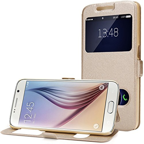 Galaxy S6 Hülle mit Fenster, Galaxy S6 Ledertasche, Galaxy S6 Handy Cover, Moon mood Flip View Cover Case für Samsung Galaxy S6 Handyhuelle Schutzhülle Champagne Gold (Samsung Galaxy S6 5.1
