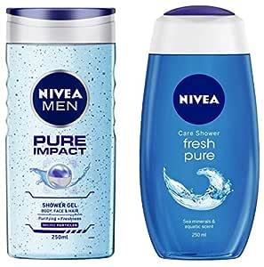 NIVEA MEN Hair, Face & Body Wash, Pure Impact Shower Gel, 250ml & Shower Gel, Fresh Pure, 250ml Combo