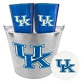 Boelter Brands NCAA Kentucky Wildcats Heckklappe Picknick-Set mit 4Kunststoff Gläser, 4pulpboard Untersetzer, und 1Metall Eimer, 5-quart, silber