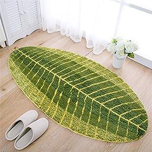 X-Labor Grün Blatt Weiche Antirutsch Badematte Badvorleger Duschvorleger Fußmatte Teppichboden für Bad Küche Wohnzimmer Schlafzimmer 45x75 cm