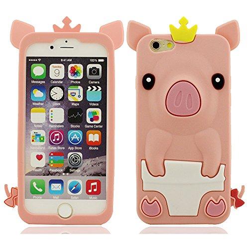 """Très Mignon 3D Animal Peu Porc Forme Serie Coque Case pour iPhone 6S 6 4.7"""", Très Doux Mince et Poids Léger Silicone Gel ( Blanc ) Rose"""
