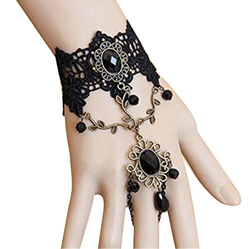 Xiton 1pcs Ankunfts-handgemachte Retro-Schwarze Spitze Vampir-Sklaven-Armband Gotik