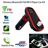 TAOtTAO Wireless Hands-Free USB Port Talking Car Kit Bluetooth Car MP3 Player FM Transmitter With MIC (Red)