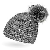 Neverless Damen Strickmütze mit Fell-Bommel und Fleece gefüttert, Kunstfell, Winter-Mütze, Bommelmütze, Hellgrau Unisize
