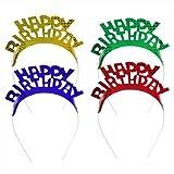 """Haarreifen farbig sortiert """"Happy Birthday"""" 1x4 Stück"""